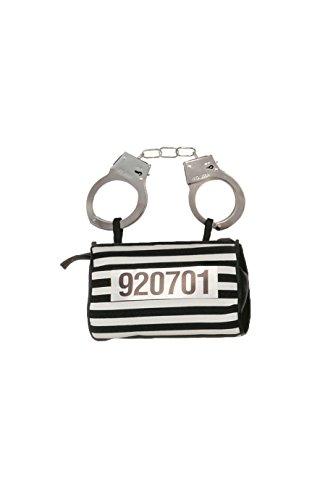 Handtasche Gefangenen Tasche Sträfling Karneval Fasching Gefängnis Insasse Schwarz Weiß Gestreift Zubehör (Insasse Kostüm)