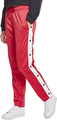 Button Up Shirt Jeans (Urban Classics Damen Ladies Button Up Track Pants Sporthose,, per pack Mehrfarbig (fire red/white/navy 01236), W28(Herstellergröße: M))