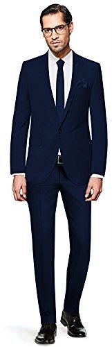 PABLO CASSINI Herren Anzug Fine Art - 3 teilig - Marineblau Blau Smoking Ein-Knopf Hochzeit Business PCS_3 (52) (Individuelle Drei-knopf-anzug Passform)