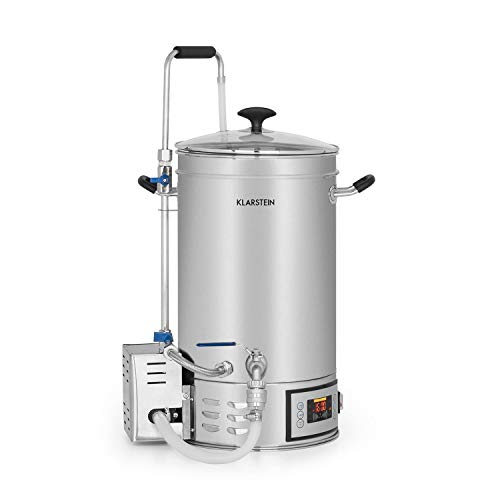 Klarstein Brauheld 15 Caldera de maceración • Juego de fermentación • Cerveza casera • 15 L • 30-140 °C • 500-1600 W • Bomba de circulación • 4 pasos programables • Pantalla • Acero • Plateado