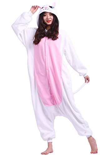 Unisexe Adulte Animal Cosplay Kigurumi Pyjama pour taille 140-187 cm - Chat Blanc