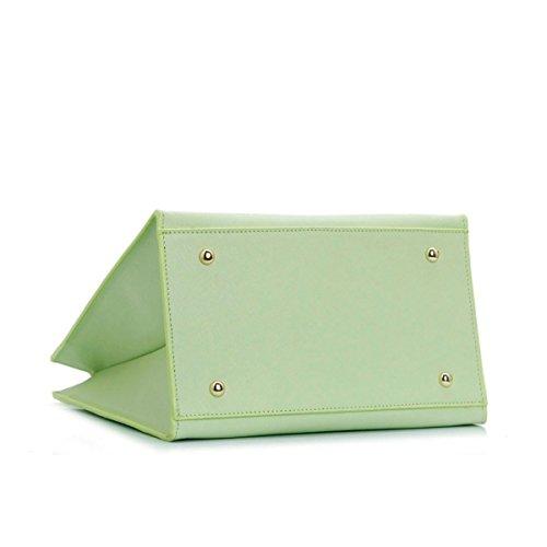 BHUE Womens Handtasche Minze Farbe Einfach OL Vertikale Schnitt Leder Mädchen Party Retro Damen Mode Handtasche Messenger Bag Green
