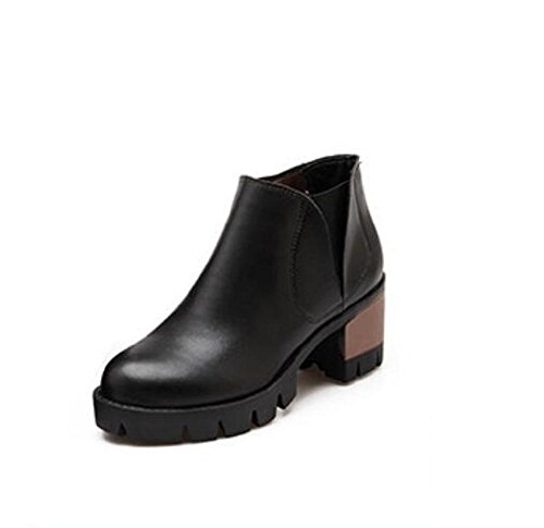 Shose di zeppa bassa casual donna rotonda testa elastico boots black