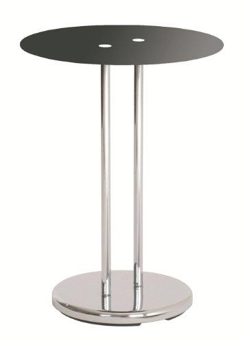 Haku Möbel 33203 Table Basse d'Appoint Tube d'Acier/Verre Trempé Chromé/Noir