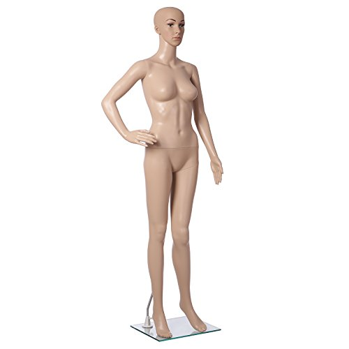 Songmics weibliche Schaufensterpuppe Ganzkörper Schaufensterfigur Mannequin mit Kopf Deko für Schaufenster 175cm MPLM01