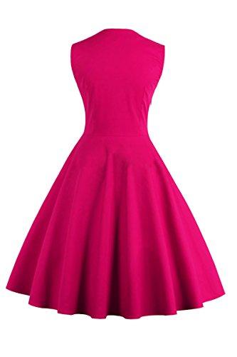 yming Damen 1950Vintage Polka-Button Retro Audrey Hepburn Swing Rockabilly Party Kleid, 4x l Fuchsia