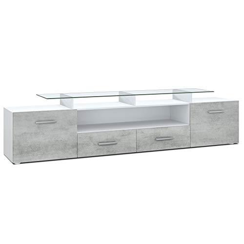 Vladon TV Board Lowboard Almada V2, Korpus in Weiß matt/Front in Beton Oxid Optik
