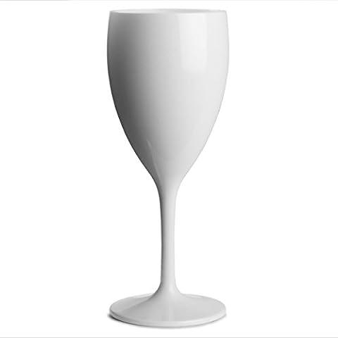 Polycarbonate Wine Glasses White 12oz / 340ml - Set of 4 | Plastic Wine Glasses, Reusable Wine