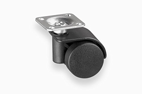 4x Möbelrollen | 35 mm | Tragkraft 70 kg pro Rolle | schwarz mit Platte | Transportrolle | Schwerlastrolle | Möbel | Container