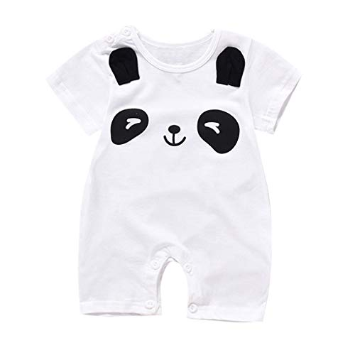 Knowin-baby body Sommer Baby Tier Cartoon Kletteranzug Kurzarm Einteiler mit Bär - Panda - Wolke - AFFE Muster Säuglingsspielanzug Overall Outfits Kleidung(0-12M)