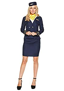 Karnival- Blue Flight Attendant Costume Disfraz, Color azul, large (81050)