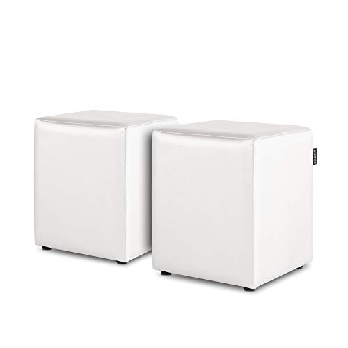 HAPPERS Pack 2 Puff Cubo Polipiel Indoor Blanco