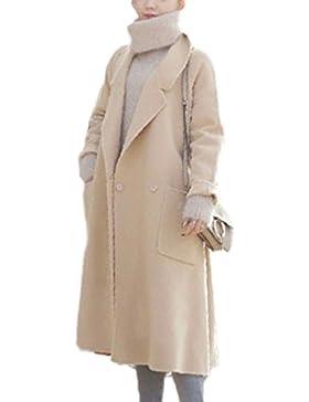 Las Mujeres Elegantes Loose Long Sleeve Pure Woolencoat Outwear