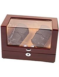 Lindberg & Sons LSWW8036 - Estuche con rotor para relojes, 4 compartimientos, color café