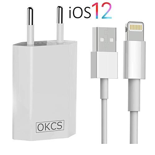 OKCS Ladeset [USB Ladekabel mit Netzteil 1000 mAh] 2 Meter kompatibel mit iPhone XS, XR, XR Max, X, 8, 8 Plus, 7, 7 Plus, iPad 4, Pro, Mini, 2 - in Weiß