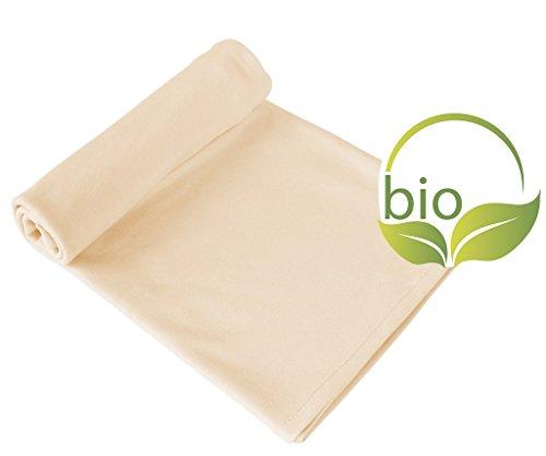 ByBoom® - Babydecke, Kuscheldecke, Erstlingsdecke, Sommerdecke, 70x100 cm; 100% BIO BAUMWOLLE, Farbe:Beige/Beige - Euro Tagesdecke