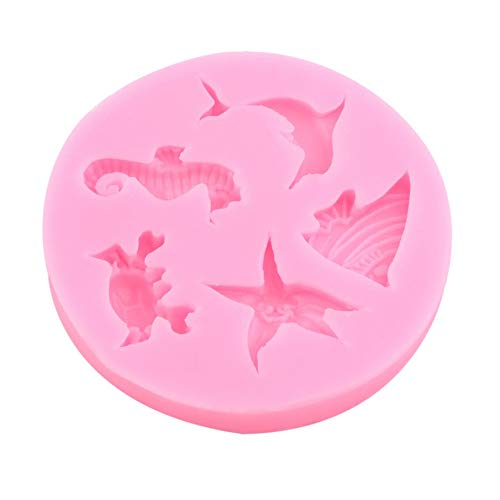 KNOSSOS Pink Dolphin Crab Starfish Seahorse Angel Fish Silicone Cake Chocolate Mold - Pink
