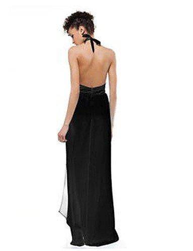 PU&PU Robe Aux femmes Ample Grandes Tailles / Sexy / Mignon , Couleur Pleine Licou Maxi Mousseline de soie BLACK-L