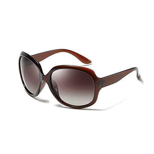 ZUEN Frauen polarisierte Sonnenbrille UV-Schutz UV400 Damenmode Big Frame Sonnenbrille Lindern Ermüdung der Augen,Brown