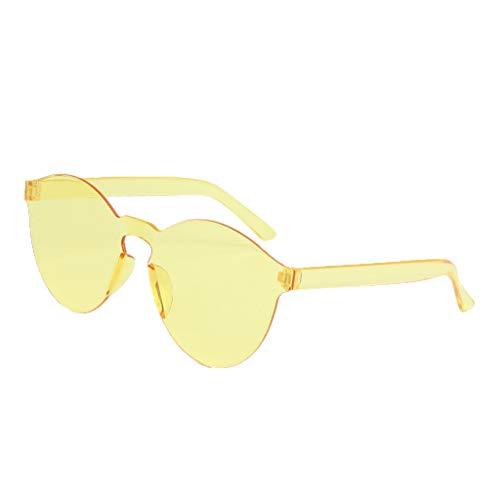 Harpily Bonbonfarbene Rahmenlose Transparente Sonnenbrille,Randlose Transparente Brille Europa Und Amerika Paar Sonnenbrillen Nerd Brille Damen Brille Damen GläSer Set