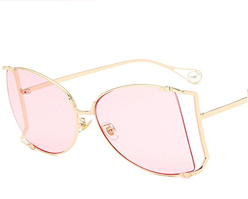 UMCCC Lady Cat Eye Sonnenbrille Perle Große Hohl Metallrahmen Street Fashion Beat