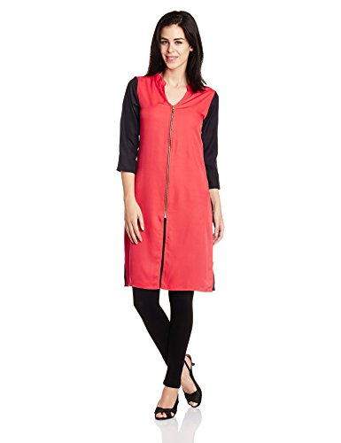 Atayant Women's Anarkali Kurta (ATAY01900_L_Red and Black)  available at amazon for Rs.299