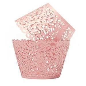 Cupcake Wrappers 100 Filigrane Bake artistique Cup Cake Gobelets Petite Vigne Dentelle Cut Laser Liner Baking Muffin Case Plateaux pour la décoration de fête d'anniversaire de mariage