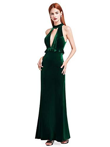 Ever-Pretty Damen Bodenlang Elegant Formell Abendparty Businiss Ballkleider 42 Größe Dunkelgrün