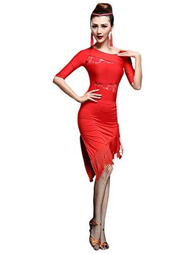 besbomig Damen Tanzkleid Sexy dünne Spitze Tops und Quasten Latein Dance Rock - Ballsaal Salsa Samba Tango Jazz Wettbewerb - Black Jazz Flapper Kostüm