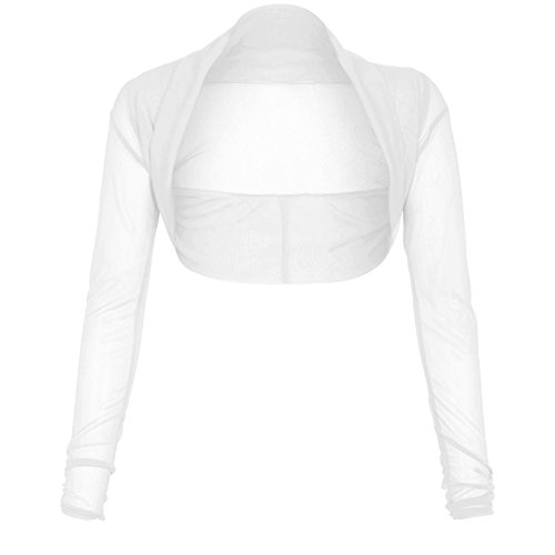 Nuovo donna plus size corto a maniche lunghe Bolero coprispalle Cardigan Maglia Sheer 8–22 White