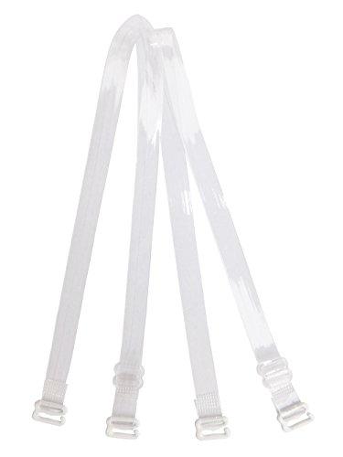 DoHope Damen Transparent BH-Träger Einstellbar Durchsichtige Unsichtbar BH Träger mit Metallhaken (Halter Style - 12mm, Halter Style (2 Stück))