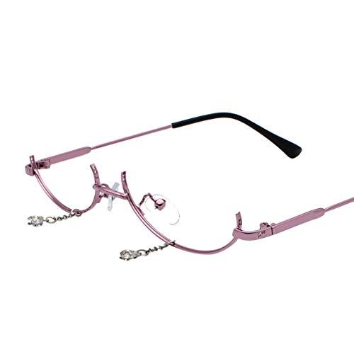 VRTUR Brillengestelle Damen Runde Rahmen Lens Brille Light Gewicht Klassische Brillenfassung Keine Linse Kette Anhänger Dekoration (One size,Lila)