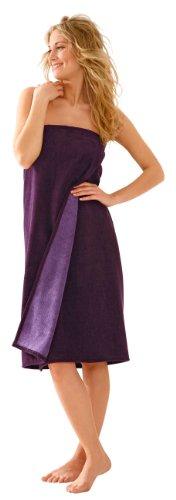 Morgenstern Saunakilt Damen Saunatuch violett 90 cm lang Saunahandtuch zum Knöpfen mit Gummizug Frauen Baumwolle Microfaser Viskose