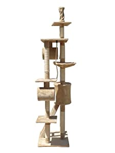FoxHunter Deluxe Multi Level Cat Scratcher Cat Tree Activity Centre Scratching Post Activity Toys D006 Beige Faux Fur 50cm x 70cm x 230cm - 260cm Height Adjustable