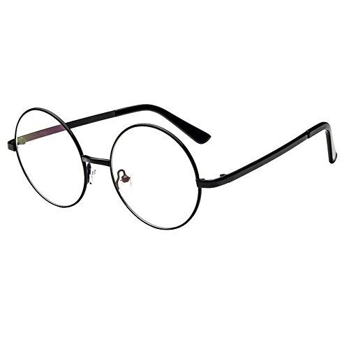 Forepin® Klassischer Runde Brillenfassungen Retro Unisex Metall Brillengestell, Schwarz