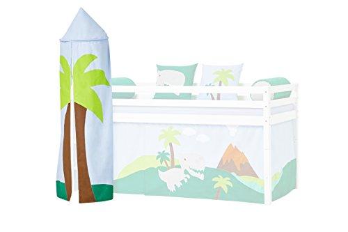 Hoppekids Halfhigh/Play/Kabine Bett, Mid Sleeper, Stoff, Blau/Grün, 45 x 45 x 185 cm (Stoff Sleeper)