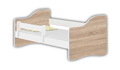 Jugendbett Kinderbett mit einer Schublade mit Rausfallschutz und Matratze Weiß ACMA HAPPY 140x70 160x80 180x80 (Eiche Sonoma, 160x80 cm) -