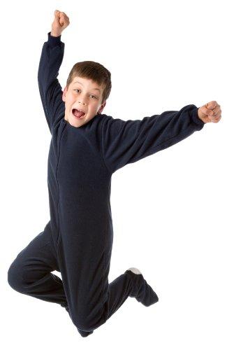 Big Feet Pyjama Co PJs Junior Fleece Footed Schlafanzüge M 10/12 Navy-blau (Pyjamas Footed Pjs)
