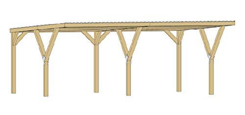 Weka Y-Flachdach-Doppelcarport ohne Dachplatten