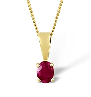 TheDiamondStore | Solitaire Pendant - Oval Cut Ruby - 5 x 4mm - incl. Chain - 18K Gold