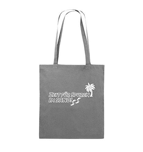 Buste Comiche - Tempo Per Tracce Nella Sabbia - Palmo - Borsa Di Juta - Manico Lungo - 38x42 Cm - Colore: Nero / Rosa Grigio Scuro / Bianco