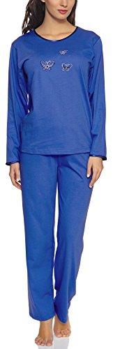 Merry Style Pyjama Ensemble Haut et Bas Vêtements d'Intérieur Manches Longues Femme 91LW1 (Bleuet (Manches Longues), XXL)