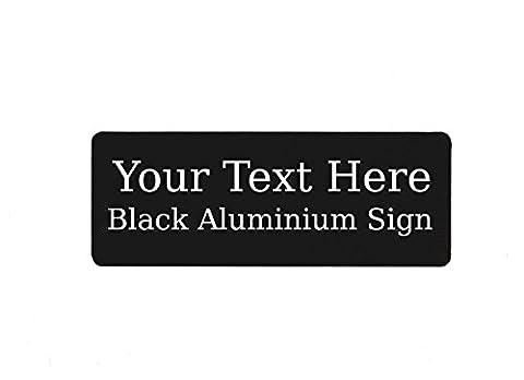 200x75mm Custom Personalised Your Text Metal Aluminium Sign Door Plaque House Office Name (Black)