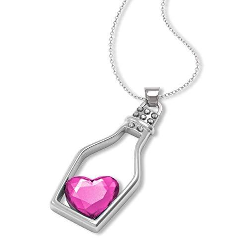 Collana placcata argento con ciondolo – elegante bottiglia con diamante a forma di cuore - idea regalo originale - pendente d'amore – per fidanzata - amica - donna - ragazza - 8 colori