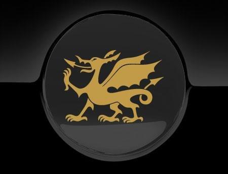 """Tankdeckel-Aufkleber, Motiv """"walisischer Drache"""", goldfarben"""