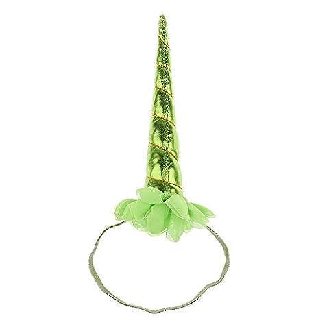 MagiDeal Einhorn Horn Elastisches Stirnband Spiral Einhorn Horn Cosplay Dekor - Grün (Halloween Kostüme Arts And Crafts)