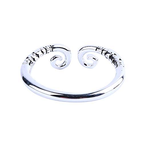 Kissherely Stilvoller offener Ring für Frauen und Männer chinesischer Affenkönig Ring Ehering Schmuck Zubehör (Silber-Schwarz-Männer) (Männer Silber Und Schwarz Ehering)