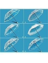 Ankamall Elec 1 unid Negro Blanco Color Transparente Paraguas Mujer Plegable Precioso Patrón Parasol Romántico Rose