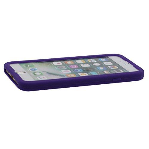 Pour iPhone 7 Plus 3D Console de Jeu Portable Forme Coiffant Mode Silicone Gel Doux Slim Ultra Fine Coque Case Etui de Protection pour iPhone 7 Plus 5.5 inch ( Blanc ) avec 1 Silicone Titulaire violet