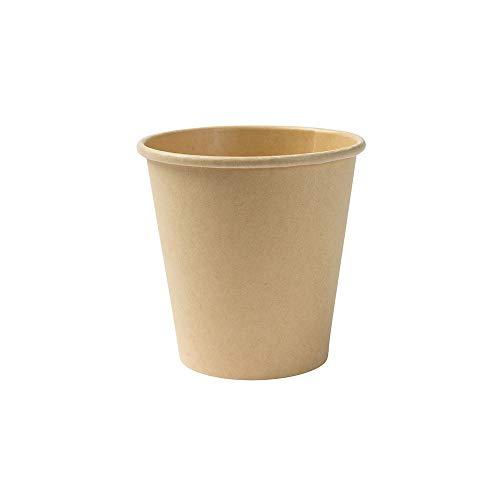 BIOZOYG Kompostierbare Bio Einweg Becher I Einmalbecher Getränkebecher Wegwerfbecher Papierbecher mit PLA Beschichtung I 50 Stück Coffee to go Pappbecher braun ungebleicht 150 ml 6 oz